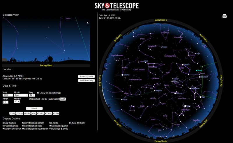 online star chart example